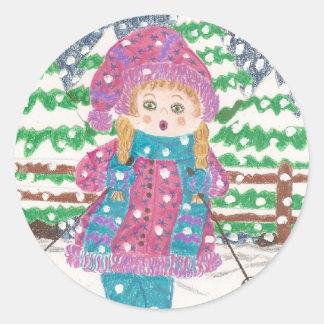 Ski girl classic round sticker