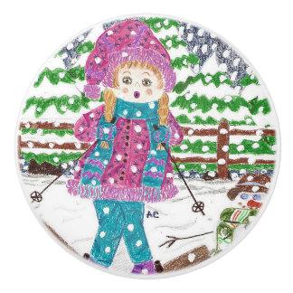 Ski girl kids room ceramic knob