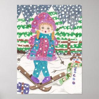 Ski girl kids room poster