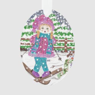 Ski girl oval acrylic Christmas ornament