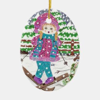 Ski girl oval ceramic Christmas ornament