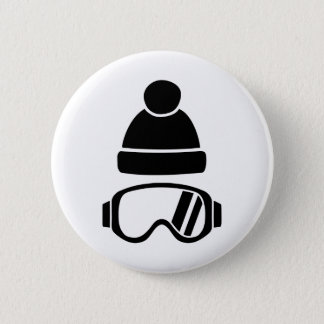 Ski goggles hat pinback button