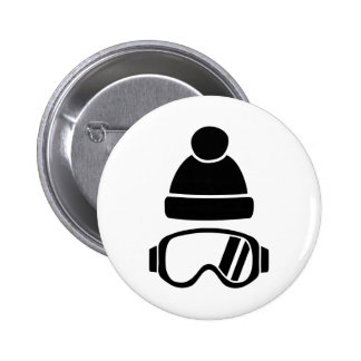Ski goggles hat pinback button