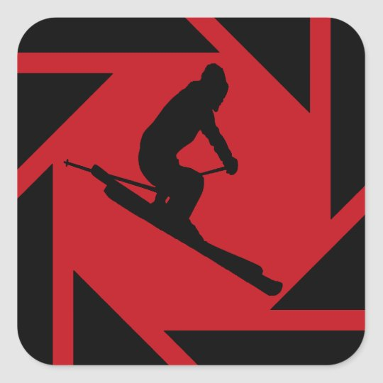 SKI IN RED SQUARE STICKER