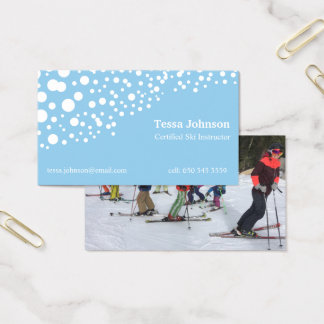 Ski instructor snow and photo business cards