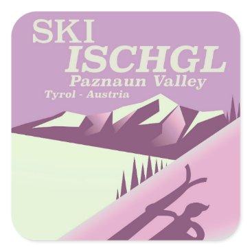 bartonleclaydesign Ski Ischgl,Paznaun Valley Tyrol Square Sticker