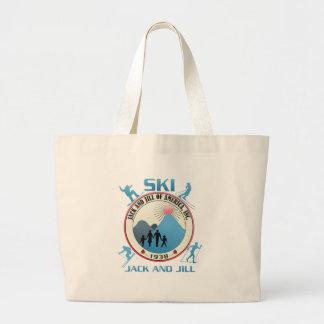 Ski Jack and Jill Pink Stuff Large Tote Bag