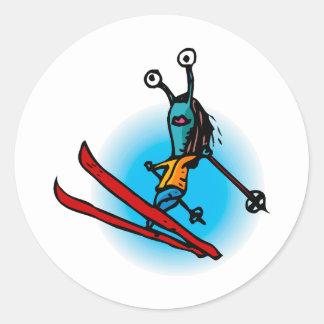 Ski Jump Alien Sister Classic Round Sticker