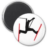 ski jump icon 2 inch round magnet