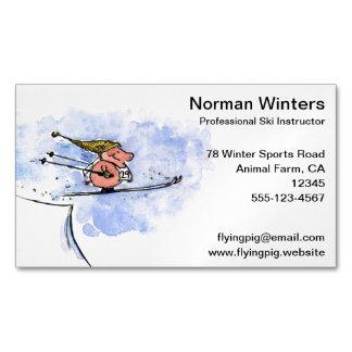 Ski Jump Pig Business Card Magnet