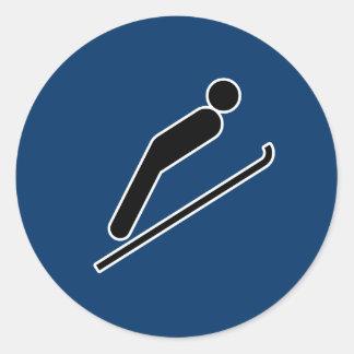 Ski Jump Round Sticker