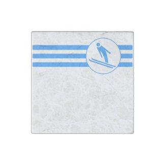 Ski Jump Stripes (Blue) Stone Magnet