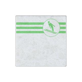 Ski Jump Stripes (Green) Stone Magnet