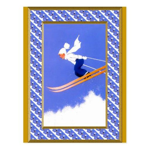 Ski jumper a postcard
