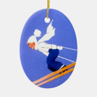 Ski jumper ceramic ornament