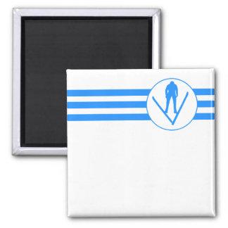 Ski Jumper Stripes (Blue) 2 Inch Square Magnet