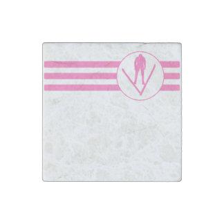 Ski Jumper Stripes (Pink) Stone Magnet