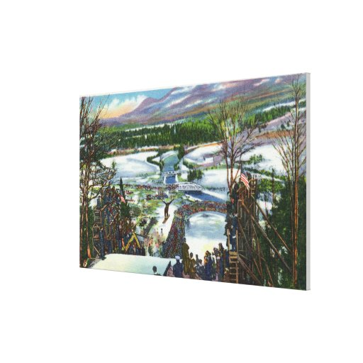 Ski Jumper Takes off from the Olympic Ski Hill Gallery Wrapped Canvas