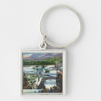 Ski Jumper Takes off from the Olympic Ski Hill Keychain
