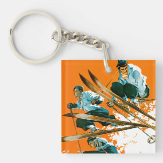 Ski Jumpers by Ski Weld Double-Sided Square Acrylic Keychain