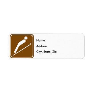 Ski Jumping Highway Sign Return Address Label