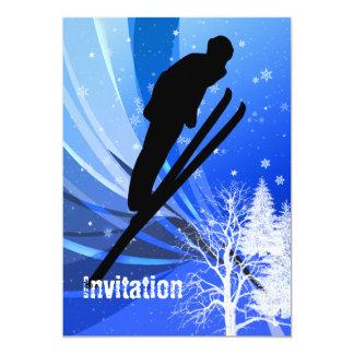 Ski Jumping in Snow Swirls Card