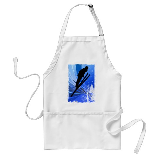 Ski Jumping in the Snow Adult Apron