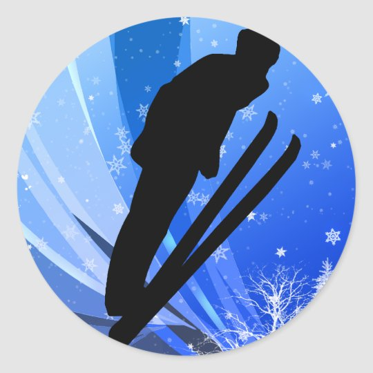 Ski Jumping in the Snow Classic Round Sticker