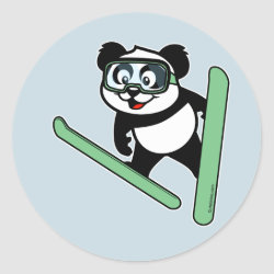 Round Sticker with Cute Ski-jumping Panda design