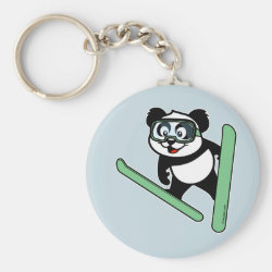Basic Button Keychain with Cute Ski-jumping Panda design