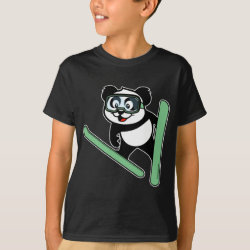 Kids' Hanes TAGLESS® T-Shirt with Cute Ski-jumping Panda design