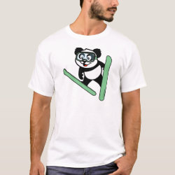 Men's Basic T-Shirt with Cute Ski-jumping Panda design