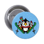 Ski Jumping Penguin 2 Inch Round Button