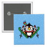 Ski Jumping Penguin 2 Inch Square Button