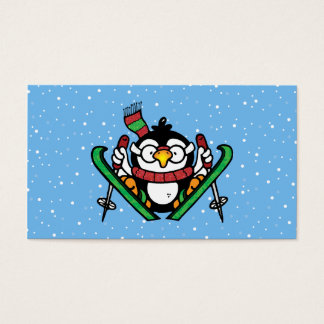 Ski Jumping Penguin Business Card