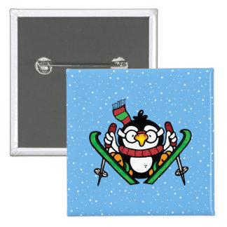 Ski Jumping Penguin Button