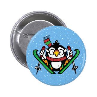 Ski Jumping Penguin Pinback Button