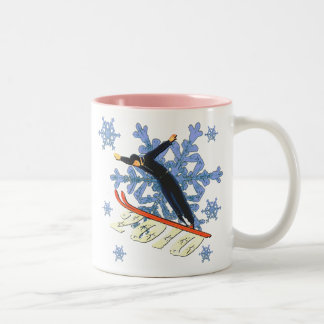 Ski jumping Ski Jumpers winter games gifts Two-Tone Coffee Mug