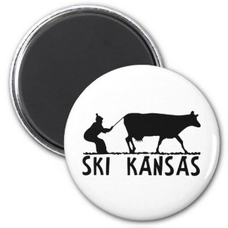 Ski Kansas 2 Inch Round Magnet