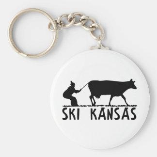 Ski Kansas Basic Round Button Keychain