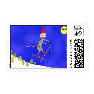 Ski Kitty Gets Big Air Postage