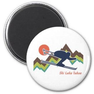 Ski Lake Tahoe 2 Inch Round Magnet
