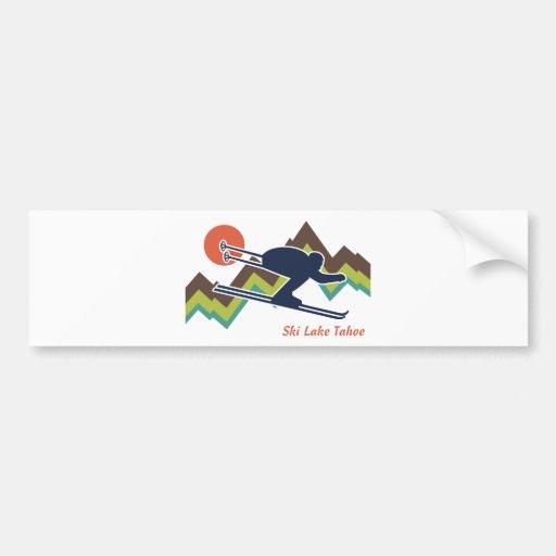 Ski Lake Tahoe Car Bumper Sticker