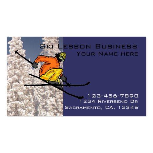 Ski lesson customizable business cards