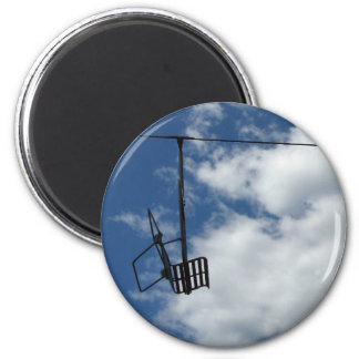 Ski Lift and Sky 2 Inch Round Magnet
