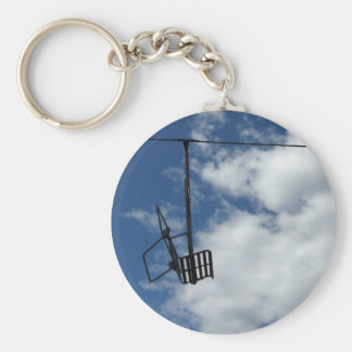 Ski Lift and Sky Basic Round Button Keychain