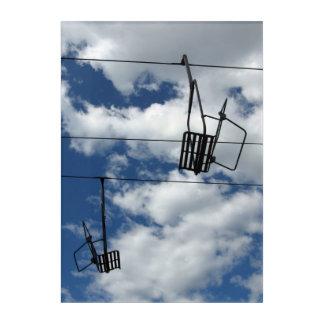 Ski Lift and Sky Photograph Acrylic Wall Art
