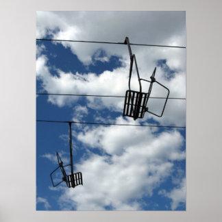 Ski Lift and Sky Poster
