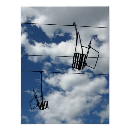 Ski Lift and Sky Print