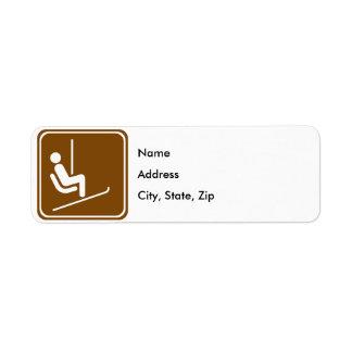 Ski Lift Highway Sign Return Address Label